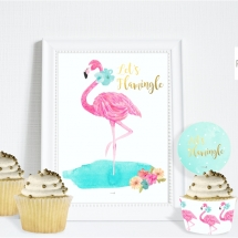 flamingo flowers party table sign and cupcakes mckp