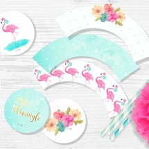 flamingo flowers party toppers and wrappers