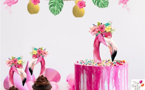 tropical party flamingo toppers y guirnalda
