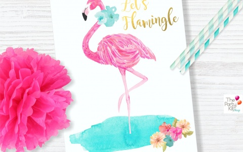 flamingo flowers party table sign