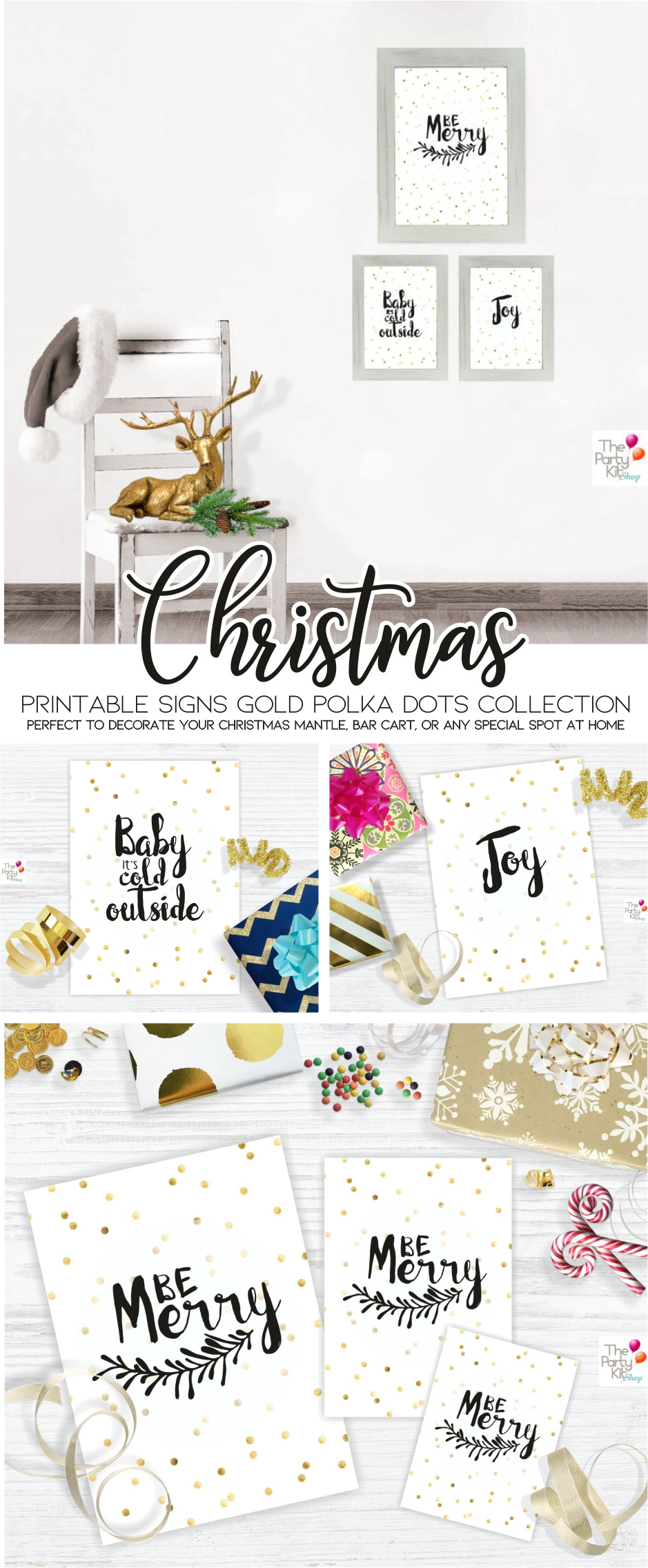 Christmas gold PolkaDots printable Signs