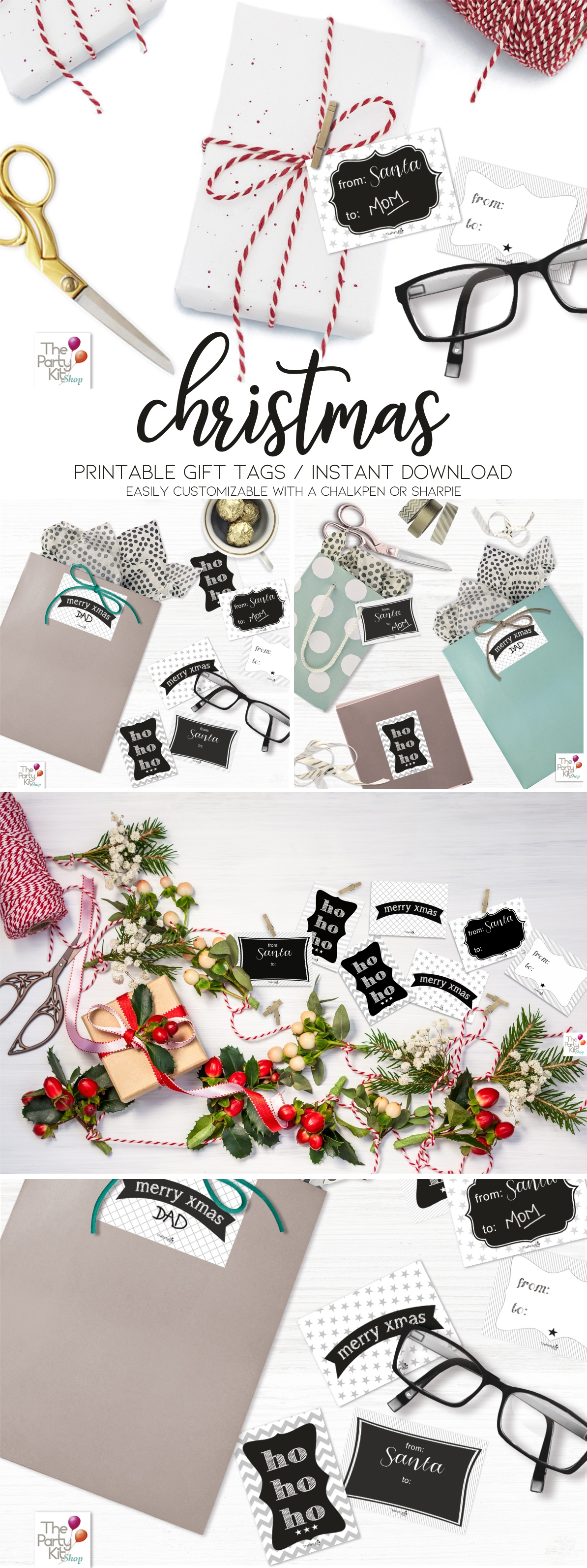 printable Christmas tags in B&W