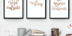 rose gold christmas printable signs