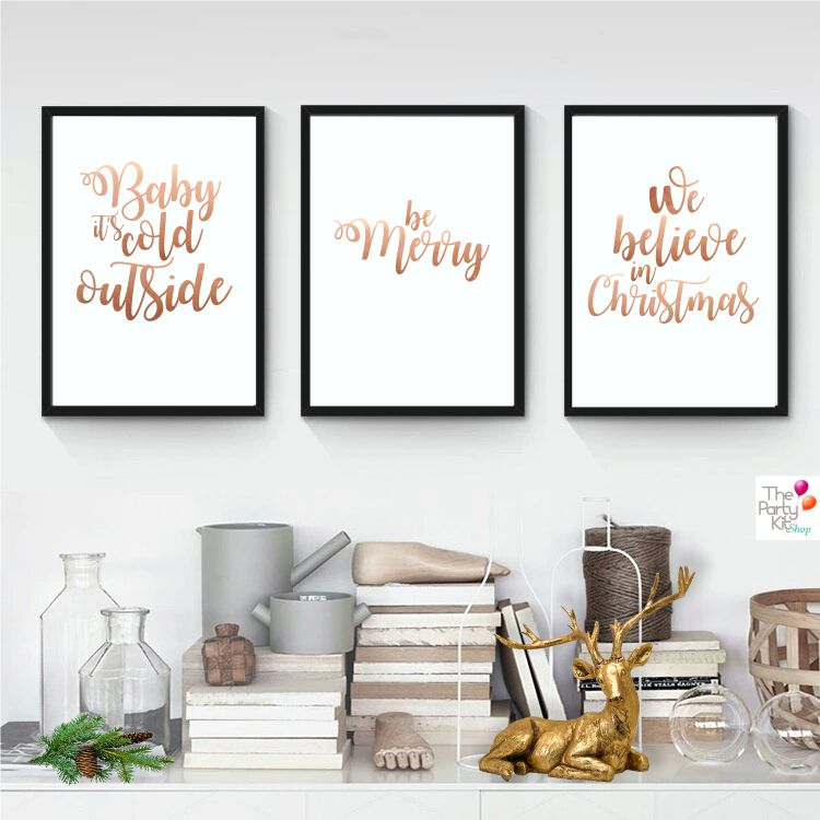 rose gold christmas printable signs