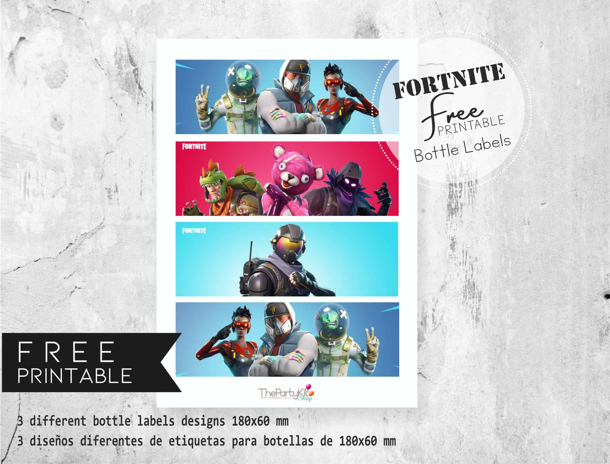 fornite free bottle labels