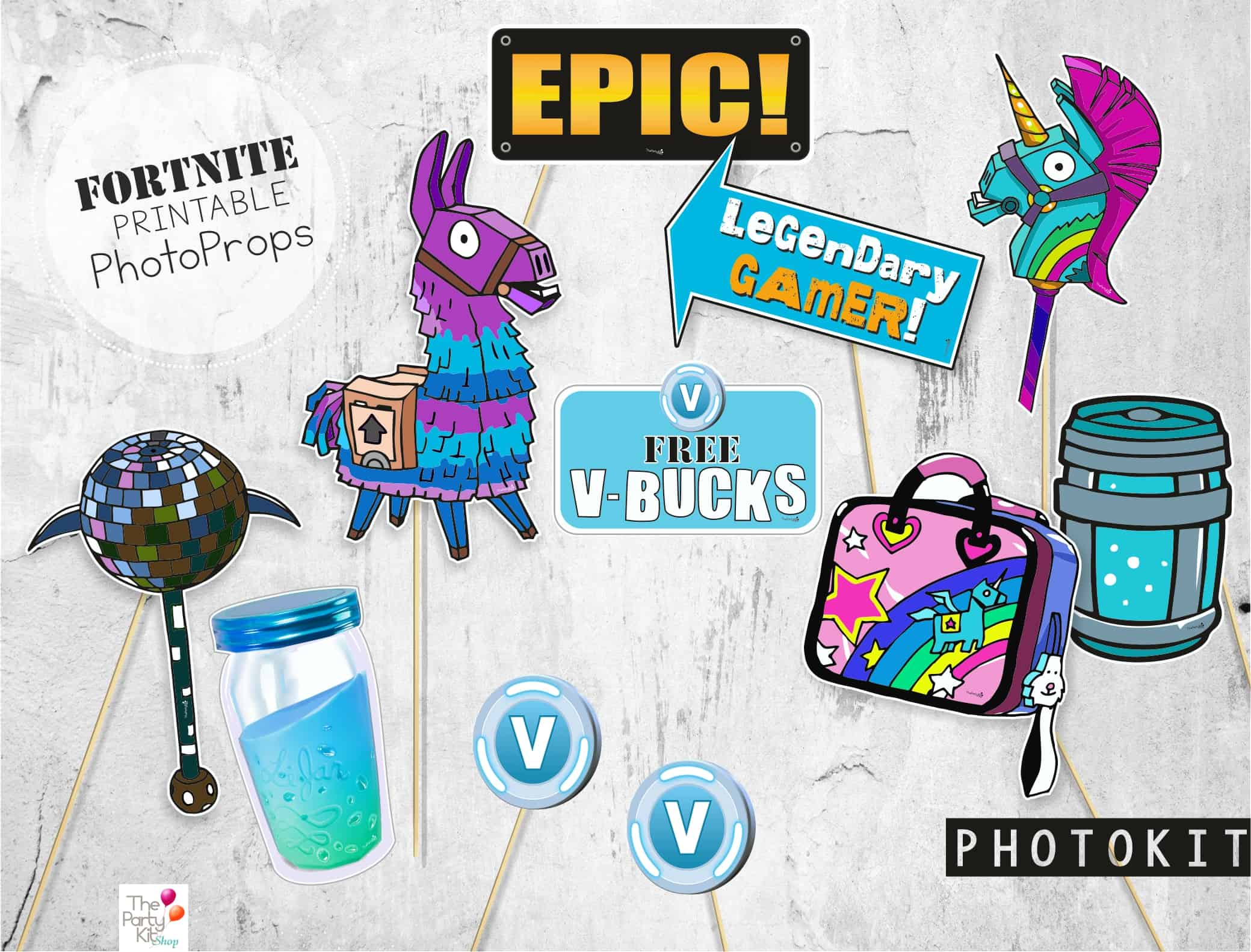 photo about Free Fortnite Printable Labels identified as FORTNITE social gathering printables + FREEBIES - thepartykitshop